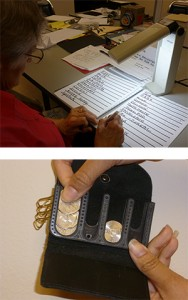 Top image is of a woman practicing printing larger letters more slowly and the bottom image is of a coin wallet with slots for different coins