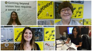 Four photos showing volunteers at Second Sense