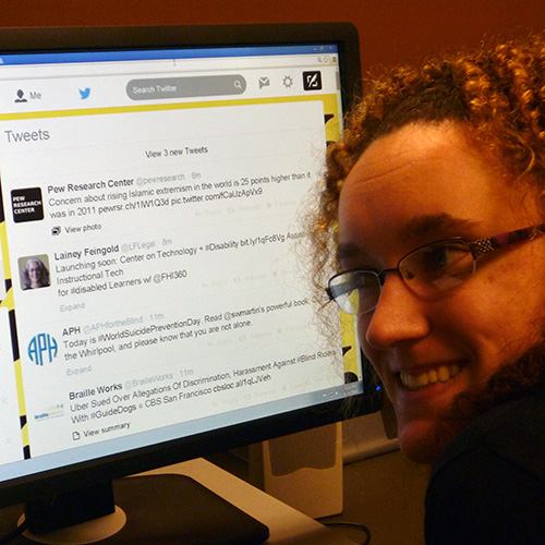 Meg working on Second Sense's Twitter feed