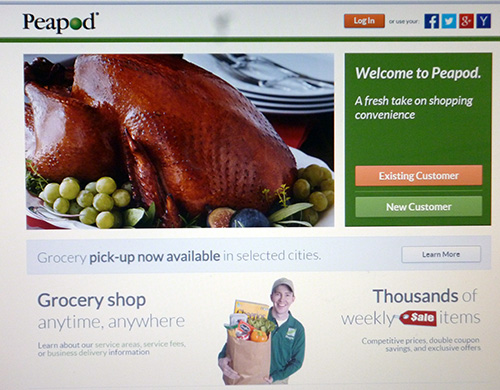 Peapod shopping site home page