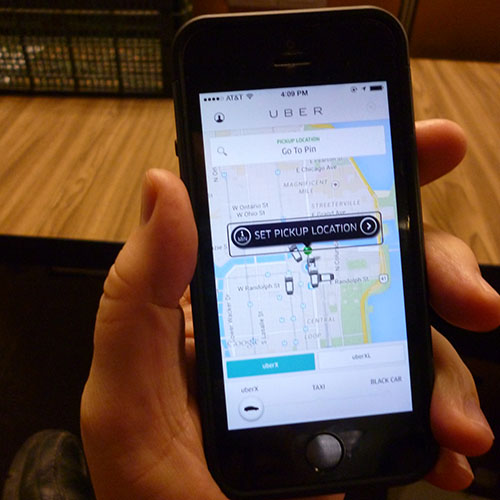 Scheduling a ride on Uber using an iPhone
