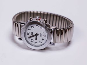 Men's Silver Tone Talking Watch