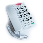 Tabletop phone in either white or black with contrasting numbers of large buttons.