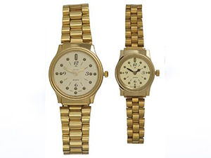Men's and women's gold-tone braille watch