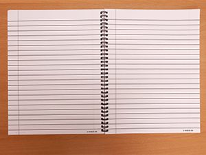 Coil-bound wide-lined paper