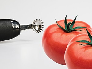 Fresh tomatoes and a corer