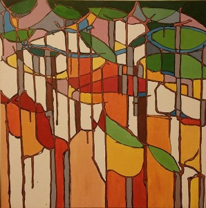 Muted tones of orange, yellow and green in a pattern resembling stained glass