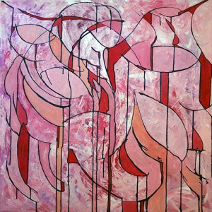 Muted tones red, pink and blush in a pattern resembling stained glass