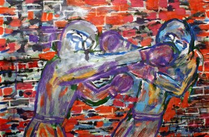Two men Boxing in front of a brick wall