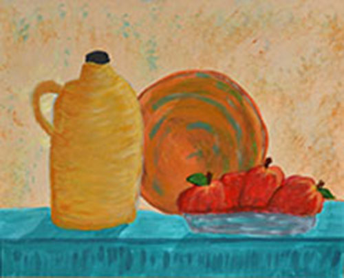 Kitchen Shelf with red apples and clay pottery