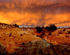 Storm approaching the badlands