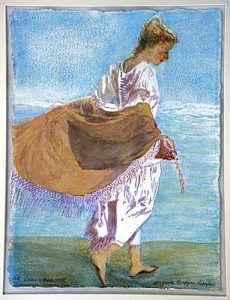 Image of a girl walking along the lake wearing a light brown shawl