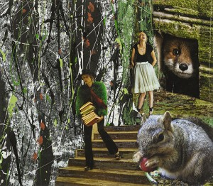 Image of a woman carrying books in the woods with a squirrel & a fox appearing in the woods as well