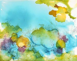 Watercolor painting of underwater corals