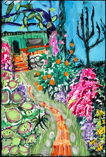 Painting of a garden leading up to a house