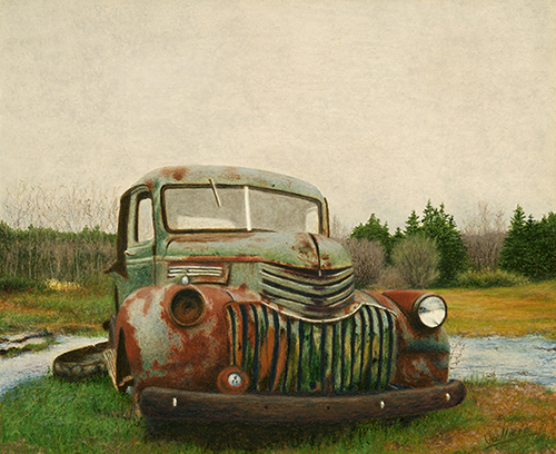 Painting of a classic car appearing to be in a Park