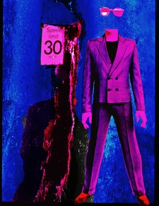 Image of a figure in a suit next to a speed limit sign