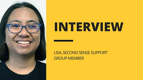 Photo of Lisa with the headline: Interview, Lisa, Second Sense Support Group Member