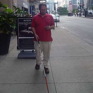 Shawn travels in Chicago using BlindSquare on his iPhone