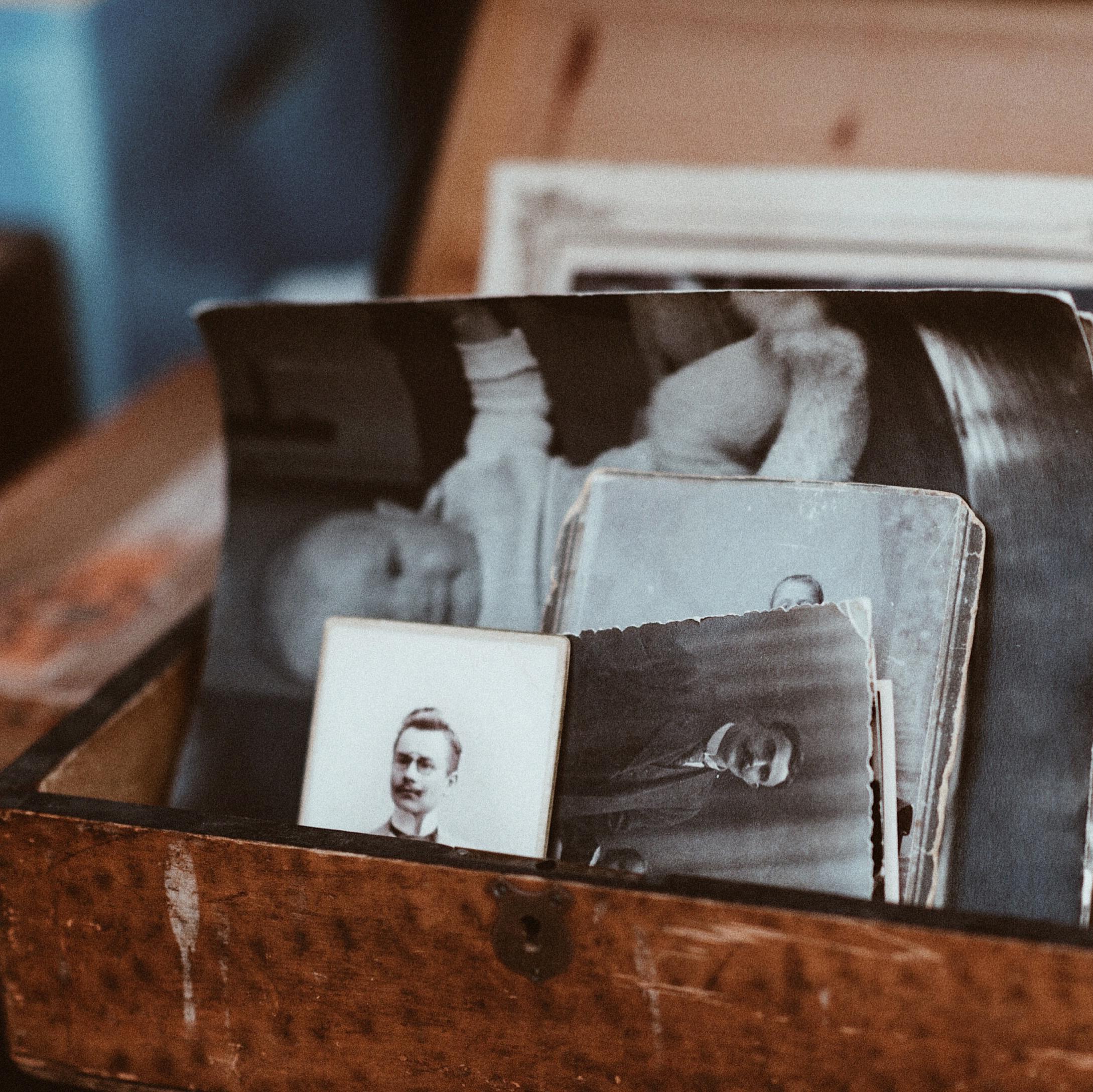 A box full of family photos