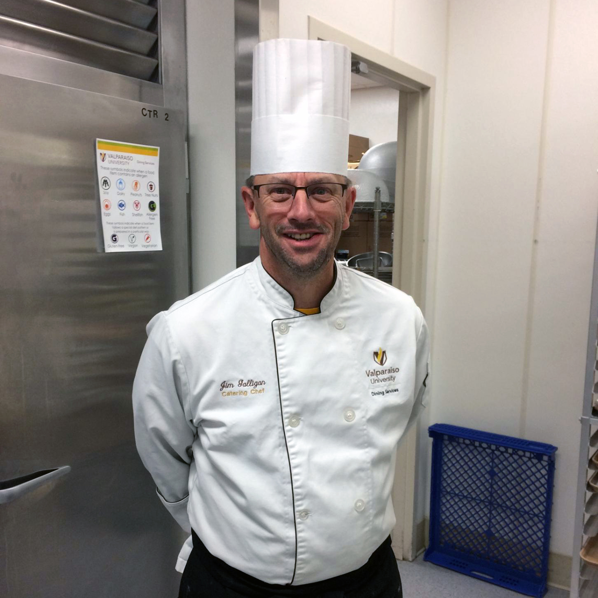 Chef Jim in his white jacket and chef hat