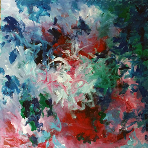 An abstract image of reds, white, blue and green that resembles a bouquet of flowers