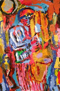 A mass of colors form the image of a lone saxophone player.