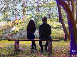 With their backs to the viewer, a father and daughter sit on a bench sharing conversation and view of a group of trees