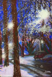 A painting showing a tree-lined street with fresh snow.