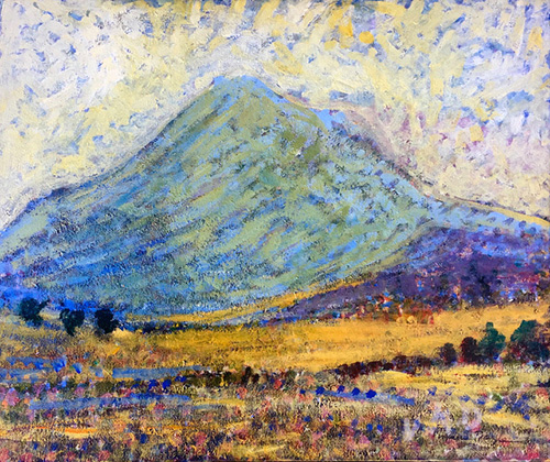Rendered in a style reminiscent of impression, a mountain dominates this piece.