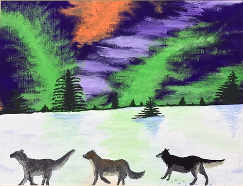 Three wolves cross the bottom of the canvas with the Northern Lights in the sky above.