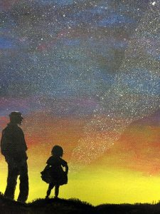 A father and daughter gazing at a colorful sky with a stream of stars seeming to fall toward the girl