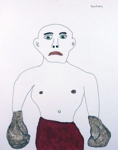 A drawing of a boxer looking dejected