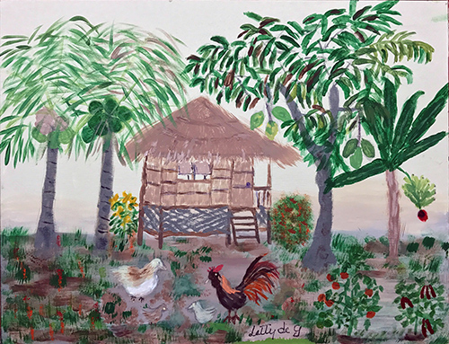 A painting of a small hut in the Phillippines with a flock of chickens in the yard