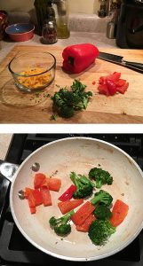 Top photo shows a red pepper partially cut into thick slices, broccoli florets and a small bowl of shredded cheddar cheese on cutting board. The bottom photo shows the vegetables sauteing in a pan.
