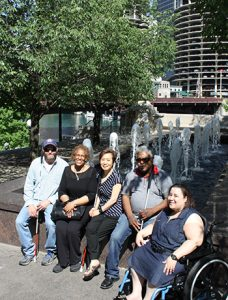 Group of people with vision loss enjoying the city