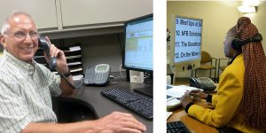 Mike making evaluation calls on the phone and Levorn manning our reception desk