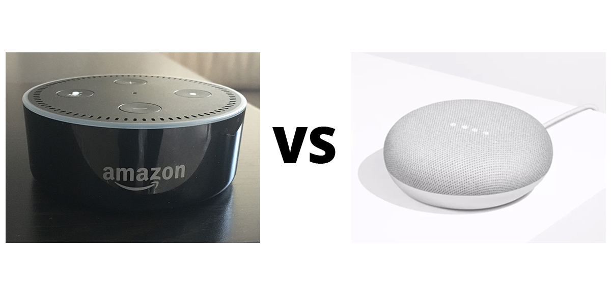 photo of an Amazon Dot and a Google Home Mini