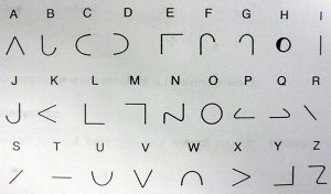 The MoonType letters under their Roman conterparts