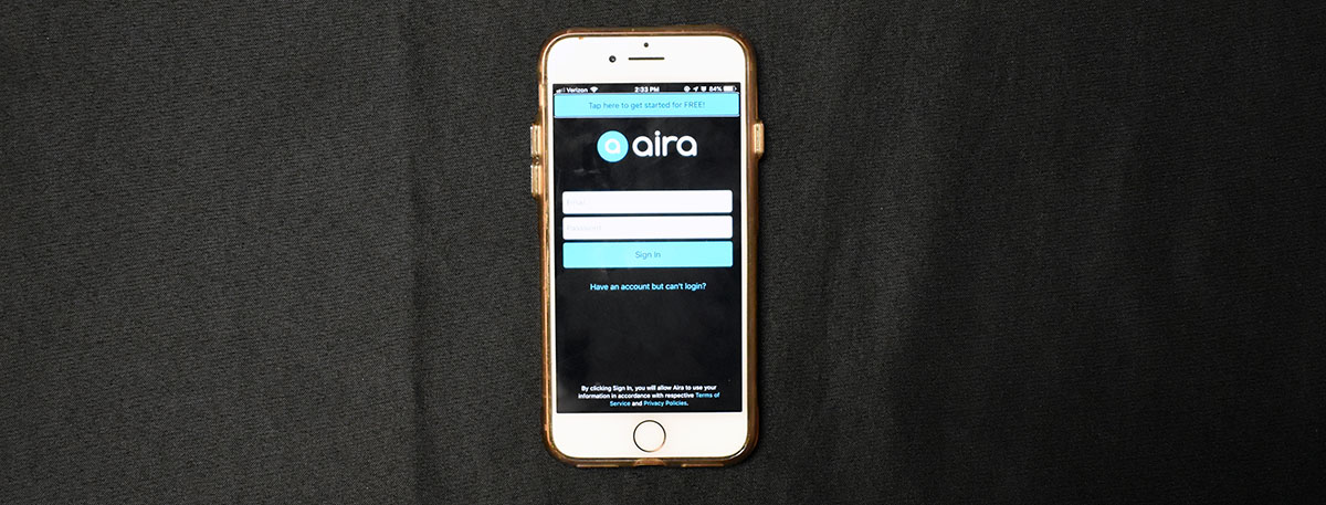 iPhone with visual assistance app, Aira.