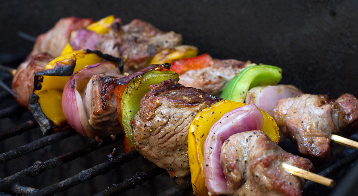 Two shish kebabs on the grill