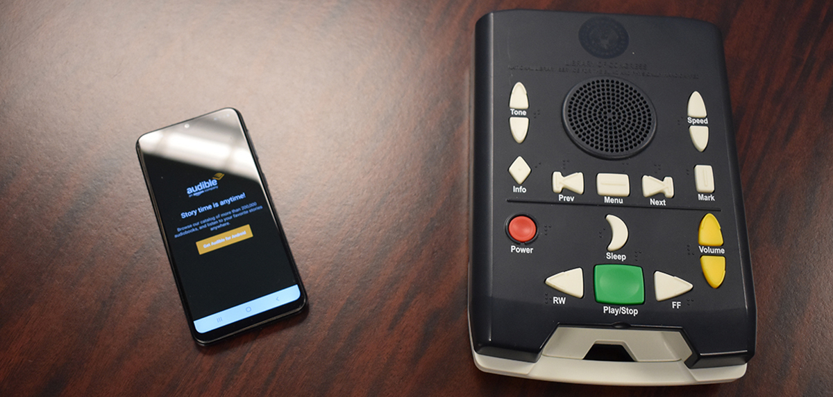 Audio Book Month: National Library Service Player and Audible app on a smart phone